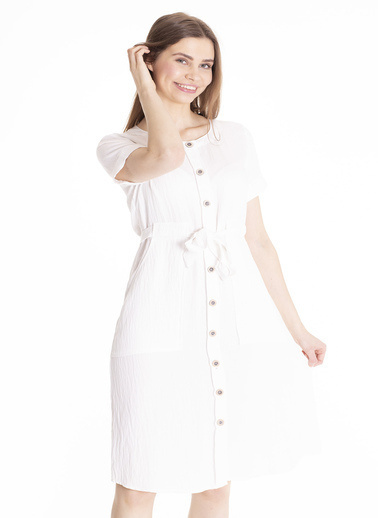 Stamina Bisiklet Yaka Kısa Kol Beli Bağcıklı Elbise Beyaz